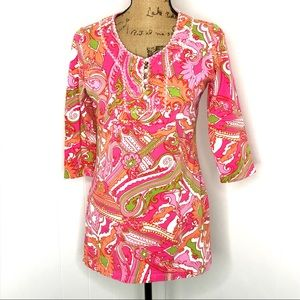 Soft Surroundings Pink Paisley Beaded Top-Size XS